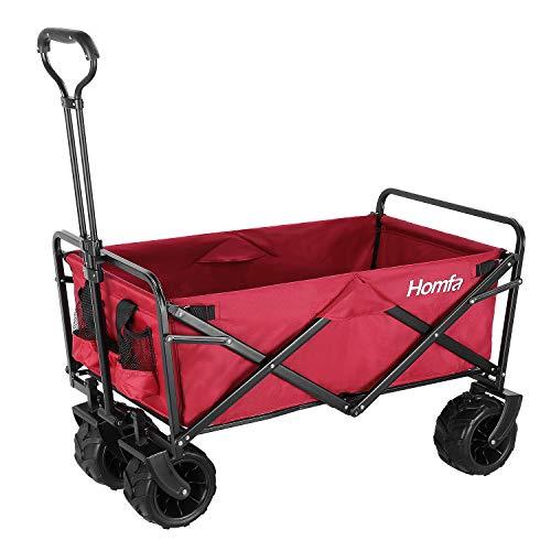 Homfa Bollerwagen faltbar Handwagen klappbar Transportwagen Gartenwagen für alle Gelände geeigne belastbar 90x59x55.5cm Rot