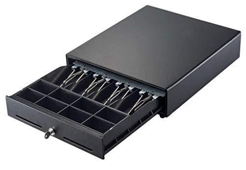 Kassenschublade 3540 (9V) für Registrierkassen mit 9V-Anschluss (elektrische Kassenlade mit 8 Münz- & 4 Geldscheinfächern, 2 Schlüsseln, 2 Einwurfschlitzen, RJ11-Anschlussstecker)