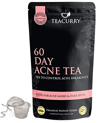24 Karat TEACURRY Acne Tea - 100 GMS + Infuser | Tea for Acne, Pimples, Cysts, Whiteheads, Blackheads, Pustules and Nodules - 60 Day Acne Tea