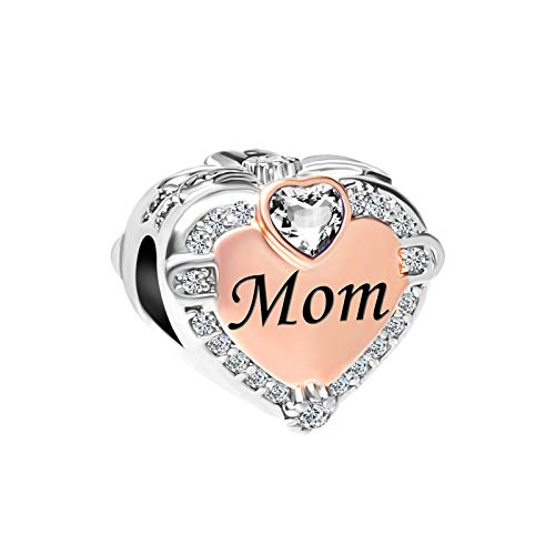 SBI Jewelry Heart Charm for Bracelet Mum Charm April Birthstone Bead Gift for Mother Daughter Sister Birthday