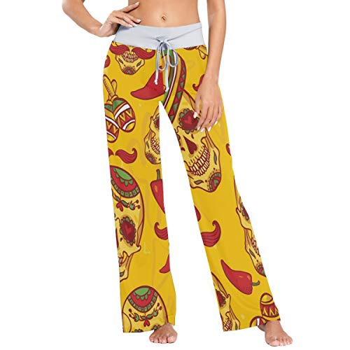 Pantalones de Pijama de Pierna Ancha elásticos para Mujer Pantalones de salón cómodos Patrón de Calaveras de Chile XL