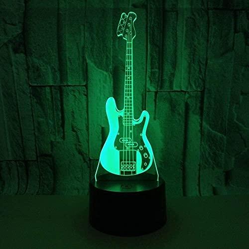 Rnwen Guitarra eléctrica LED Colorido Degradado 3D estéreo lámpara de Mesa táctil Control Remoto USB luz de Noche Mesa de Noche decoración Creativa Regalo joyería