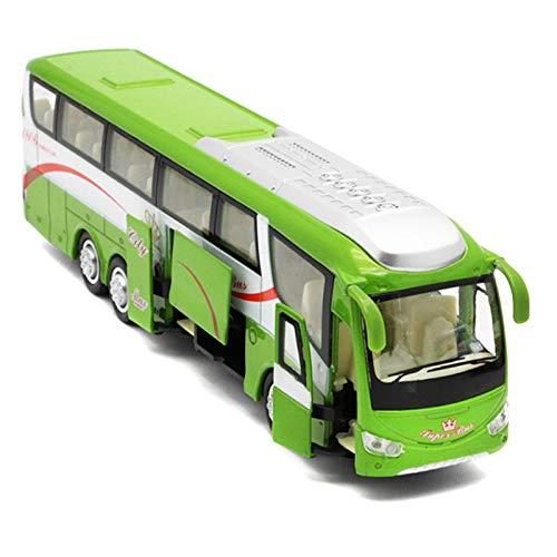 TOOGOO 1:32 Modelos de AutomóViles de AleacióN de Alta SimulacióN Autobuses Urbanos Fundidos a PresióN de Metal VehíCulos de Juguete Tirar hacia AtráS y Parpadear y Musical, Verde