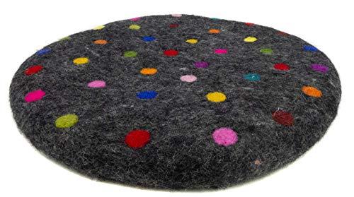 feelz - Sitzkissen aus Filz 35 cm schwarz bunt Filzkissen Stuhlkissen gepunktet Wolle Handarbeit, 2,5cm dick - Fairtrade