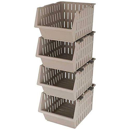 Cestas Apilables de Plástico, Frutero, Verdulero,4 estantes