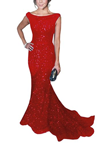 SOLOVEDRESS Women's Mermaid Sequined Formal Evening Dress for Wedding Prom Gown (US 18 Plus,Red) (Apparel)