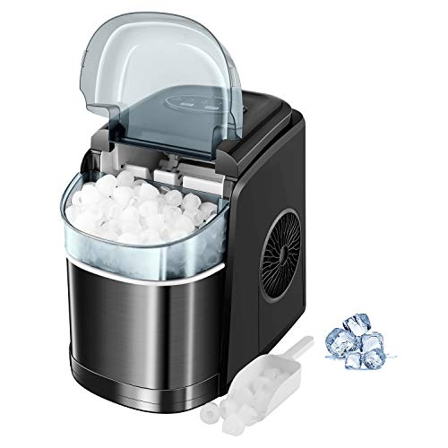SWHOME Countertop Ice Makers Machine - 26LBS/24H Nugget Ice Cube Maker Portable Self Cleaning Ice Machine,2 Ice Sizes S/L (Classic Black)…