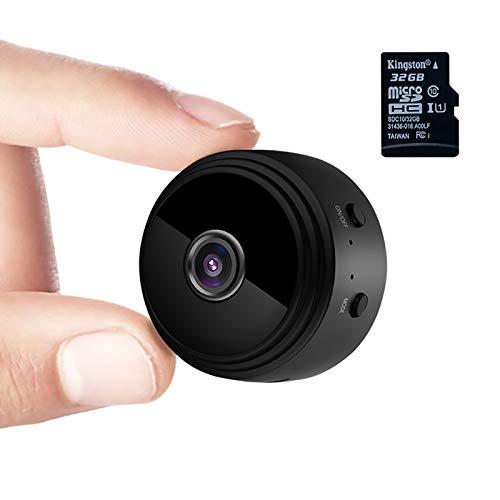 Mini Kamera,1080P HD Mini Überwachungskamera Micro WiFi Akku Kleine Kamera mit Infrarot Nachtsicht, Bewegungserkennung und 32G SD-Karte Kabellose für den Außen- und Innenbereich