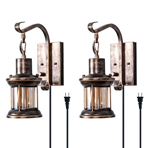 Rustic Wall Light, 2-in-1 Oil Rubbed Bronze Vintage Wall Light...