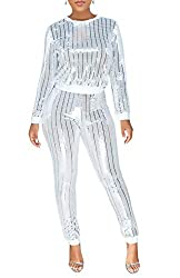 Y122-White Long Sleeve Top+Metallic Shiny Pants Rompers