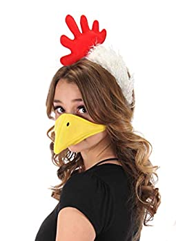 Chicken Headband and Beak Mask Costume Accessory Kit for Adult and Kids