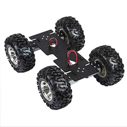 ACC DIY Smart Car Chassis Kit Roboterplattform 130mm Gummi Rad und hoher Drehmoment-Gleichstrommotor für Arduino, maximale Last 7kg, mit Controller-Befestigungslöcher