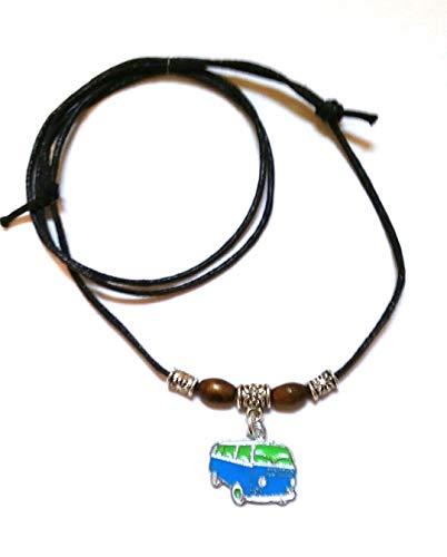 Black Leather Look Waxed Cotton Adjustable Sliding Knot Choker Necklace - Surfer, Hippi, Boho, Fashion Necklace (Blue VW Campervan)