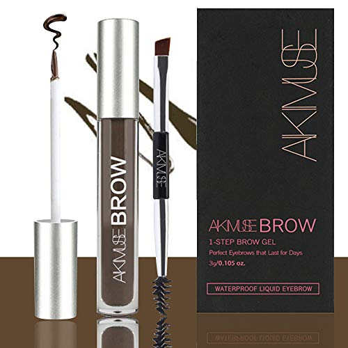 Semi permanent Eyebrow Gel, Waterproof, 24 Hours Long Lasting, Natural, Smudge-Proof, Sweat Resistant, Tinted Liquid Brow Makeup (BLACK-BROWN)