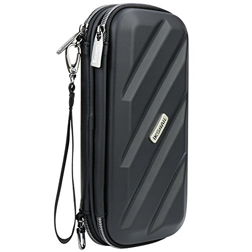 Large PU Leather Electronics Travel Organizer Waterproof Cable Case,Universal Storage Carring Bag for SD Card USB Drive Hard Drive and Charger Phone Earphone Kit, Black