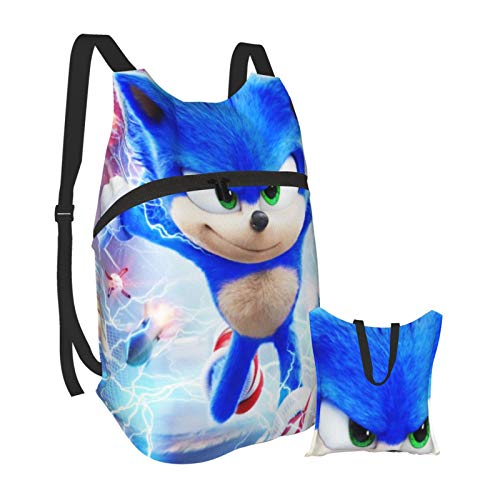 Sonic The Hedgehog Casual Folding Portable Lightweight Packable High-Capacity Backpack Resistant Camping Waterproof Outdoor Hiking Bag for Men Women