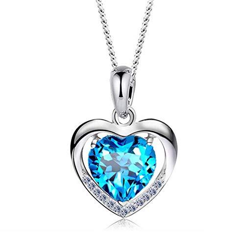 Collana, Donna Argento 925 Gioielli Blu Ciondolo Pendente Cuore con Zirconi Cristallo Regalo di Festa della Mamma per Amore