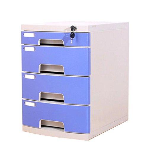 LQ Gabinete de Archivo de Escritorio Caja de Almacenamiento de Oficina de plástico de múltiples Capas con cajón de la Cerradura Carpeta (Color : Blue)