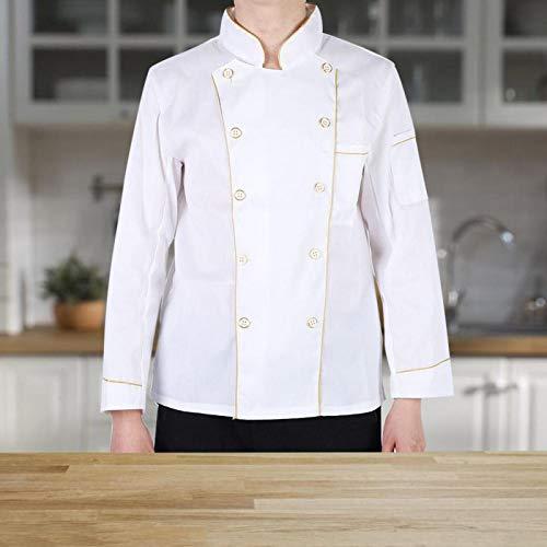 Chaqueta de Chef Suave con Cuello levantado y Transpirable para Hombre para café(XL(170-180CM))