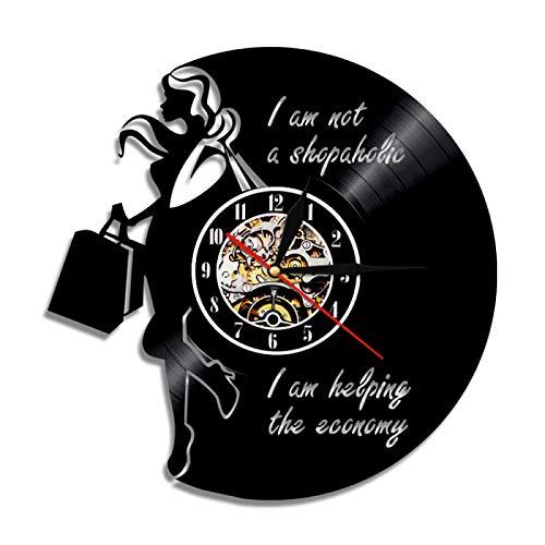 LIMN Reloj de Pared Mujer adicta a Las Compras, Reloj de Pared con Registro de Vinilo para Mujer, luz Led Vintage, Regalo Hecho a Mano para Novia, Arte de Pared, decoración del hogar