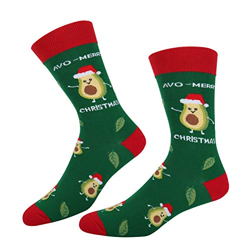 Men's Christmas Avocado Crew Socks, Novelty Fruit Cotton Socks in Green Gift