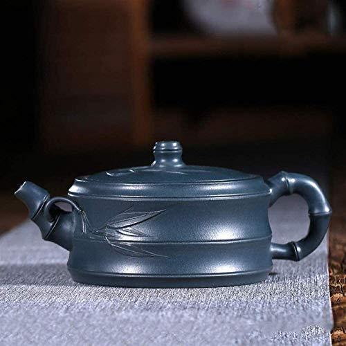 Juego de tetera de cerámica de material de arena morada, juego de té hecho a mano retro de moda en forma de bambú verde barro sección de bambú Pot utilizado en casa oficina