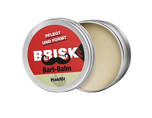 BRISK Bart Balm mit Wachstextur und Hanföl – Bartpflege und Styling in Einem – 100% natürliche Inhaltsstoffe, 40 g