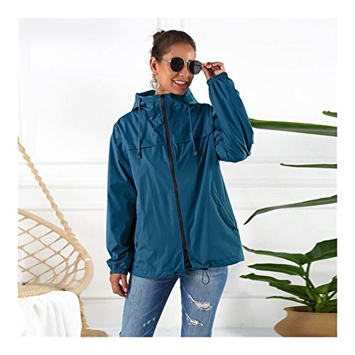 Vrouwen Waterdichte Regenjas Windjack, Lichtgewicht Outdoor Hooded Regendicht Jacket For Cycling Walking Reizen Casual Stijl (Color : Blue, Size : S)