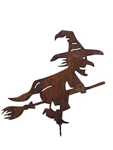 ecosoul Gartendeko Hexe mit Besen Dorn Halloween Metall Rost Deko