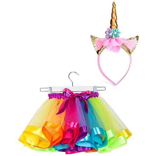 SUNTRADE Mädchen Geschichteten Regenbogen Tutu Rock mit Stirnband zum Ankleiden Geburtstagsfeier (S)