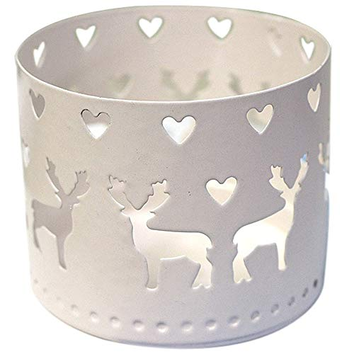 VNEIRW Metall-Windlicht Weihnachten Schneeflocke Elch Hohl Kerzenständer Kerzenhalter Kerze Stander - Geschenk für Mädchen Junge (B)
