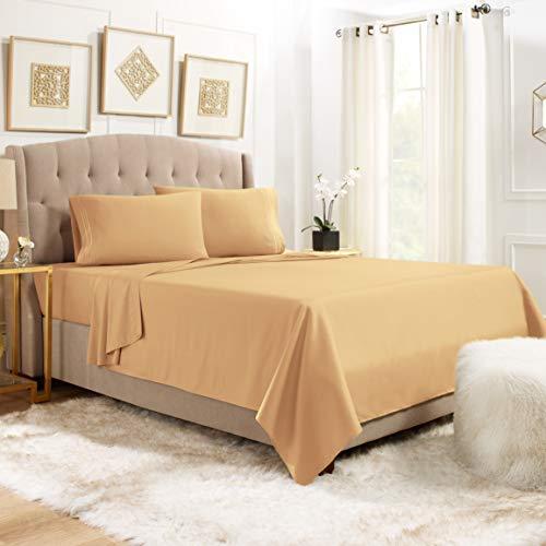 Twin XL Bed Sheets Set - 3 Piece Sheets For Twin XL Size Bed - 14'-16' Fitted Twin XL Sheets - 3 Piece Sheets For Twin XL Size Bed - Deep Pocket Luxury Sheets - Twin XL Sheet Set - Camel Gold