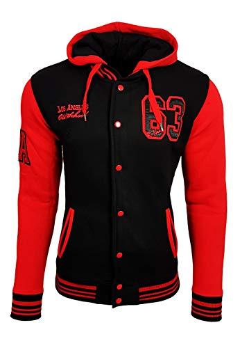R-Neal College Jacke Herren Kapuzenpullver Collegejacke Sweatshirt College Sweater 76-1, Größe:L, 6876-1:Schwarz/Rot