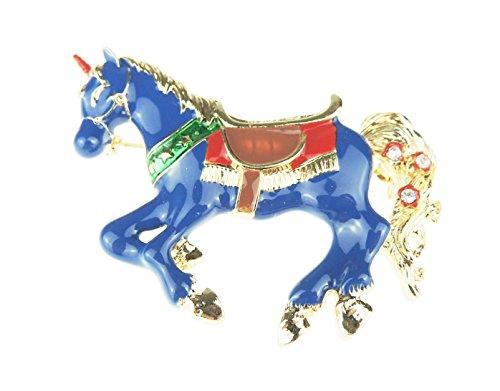 Glamour Girlz Dames Paard Liefhebber Emaille Broche Eenhoorn carrousel Paard Blauw