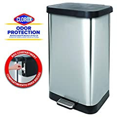 """20 gallon capacity – fits 50% more trash compared to a standard 13 gallon/ 50 liter can. Take fewer trips taking out the trash! For use with any """"black bag"""" with capacity of 20 gallons or larger - perfect for large families Cloroxtm odor protection –..."""