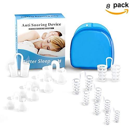 Xiton - Dispositivos de ayuda para el sueño, 8 unidades, solución de ronquidos, dispositivos antirronquidos profesionales, tapones para la nariz, respiraderos nasales para un mejor sueño.