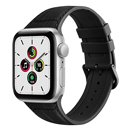 ZHIX Correa Compatible con Apple Watch 44mm 42mm 38mm 40mm,Cuero Diseño de Textura Silicona Pulseras de Repuesto de Correa para iWatch Series SE 6 5 4 3 2 1,Mujer y Hombre(42mm/44mm,Negro)