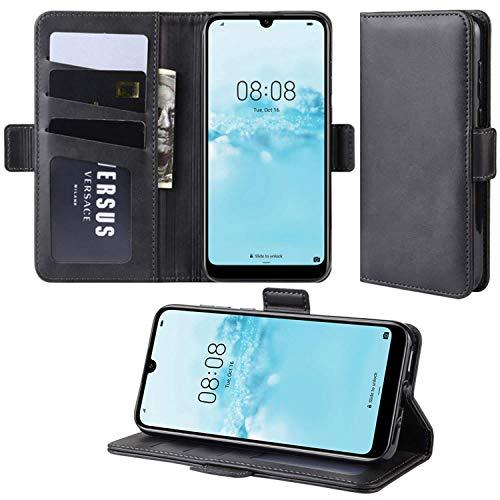HualuBro Handyhülle für Oppo Find X2 Neo Hülle, Premium PU Leder Brieftasche Schutzhülle Handytasche LederHülle Flip Hülle Cover für Oppo Find X2 Neo Tasche - Schwarz