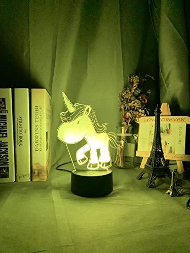 3D Anime nachtlicht 3d Lamp Unicorn Baby Night Light Color Changing Usb Battery Nightlight for Kids Child Girl Bedroom Decor Unicorn Night Lamp Gift geschenke für Männer