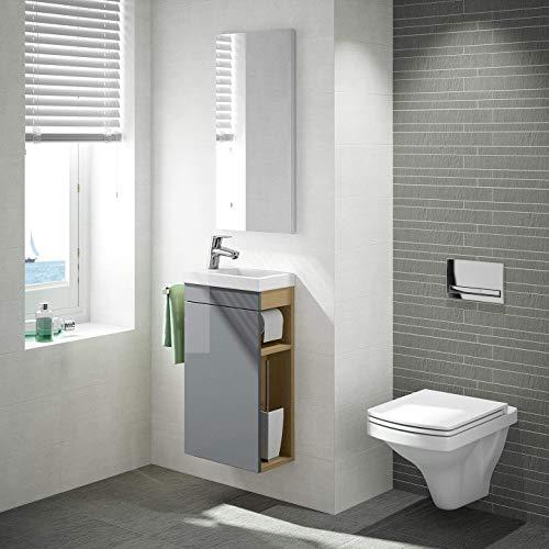 Gäste WC Badmöbel Set, WT Waschbecken mit Unterschrank in weiß oder anthrazit, Design Spiegel, Wandbefestigung