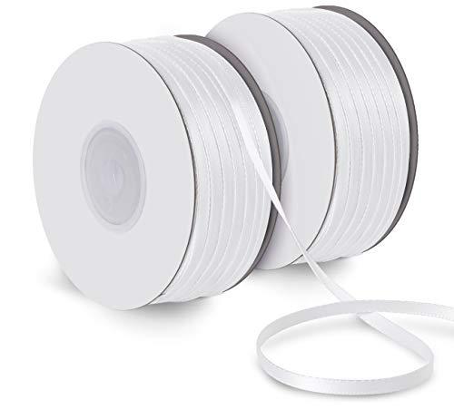 Absofine Satinband 150M Doppelsatinband weiß 3mm Schleifenband Geschenkband Hochzeit Dekoband Geschenkband Antennenband