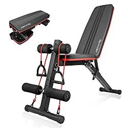 【7 Adjustable Positions for Full Body Exercise】 Naspaluro fitness weight bench can be adjusted to seven different positions by tilting, very suitable for biceps curl, bench press, shoulder push, abdominal muscle training, leg exercise, dumbbell push,...
