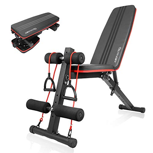 naspaluro Weight Bench Adjustable, Full Body Exercise Folding Fitness Workout Bench with 7 Positions, Exercise Bench for Weight Lifting & Sit Up Abdominal Supine Board Flat Home Gym