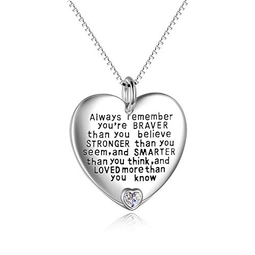 YFN Sterling Silver Always Remember You are Braver Than You Believe Jewelry Pendant Necklace Inspirational Gifts