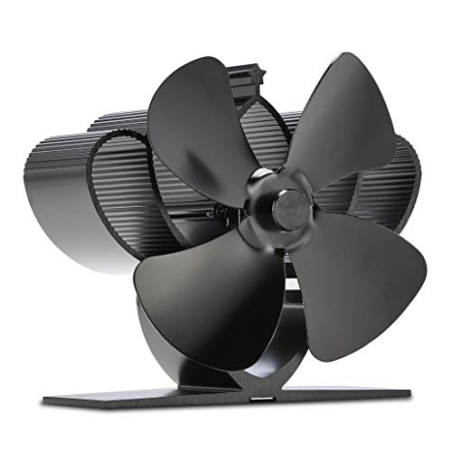 NETTA 4 Blade Mini Woodburner Stove Fan - Silent Operation - Eco Friendly Circulation - Efficient Heat Distribution - Ideal Small 13cm Log Burner Fan and Woodburner Fireplace Fan - Black