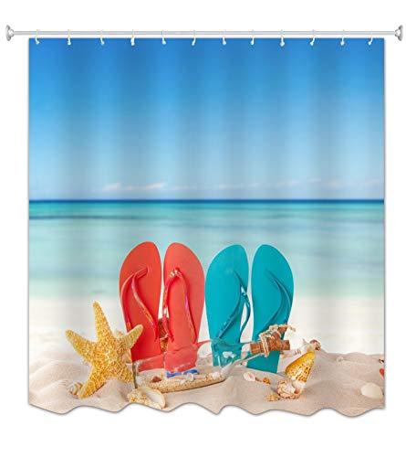A.Monamour Polyester Stoff Strand Meer Blau Ozean Himmel Natur Landschaft Strand Liebhaber Schuhe Drucken Wasserdicht Mehltau Resistent Duschvorhang Für Bad Dekoration 180X200 cm / 72