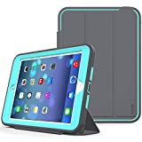 SEYMAC stock Case for iPad Mini 1/2/ 3 Case(Not for mini4), 3-Layer Heavy Duty Shock-Poof Smart Cover, Auto Sleep Wake with Leather Stand Feature for iPad Mini 1/2/3 (Dark Gray/SkyBlue)