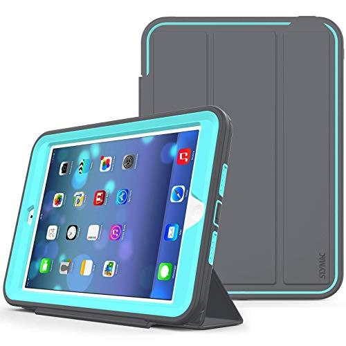 Funda Inteligente para iPad Mini/iPad Mini 2 / iPad Mini 3 de Tres Capas, Resistente a los Golpes, función de Reposo automático con función de Soporte de Piel para iPad Mini 1/2/3 (Gris/Azul Cielo)