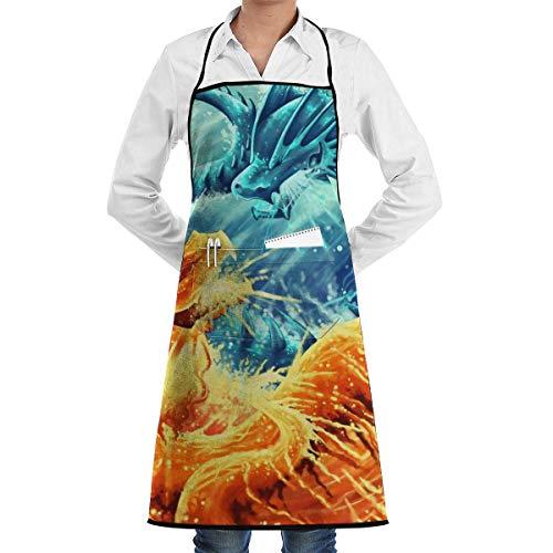 JESSA EIS Feuer Drache Riesentiere Mythologie Lätzchen Schürze Wasserdicht mit Taschen Kochen Backen Garten Küchenschürzen Chef Schürzen