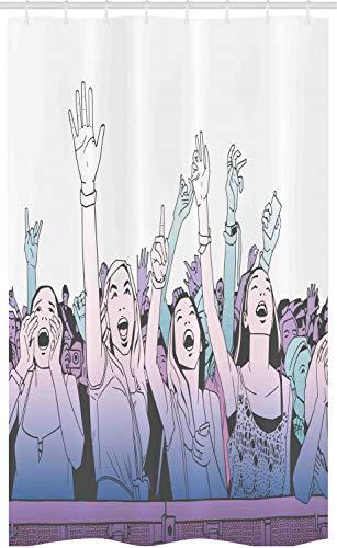 ABAKUHAUS Partij Douchegordijn, Meisje in Front Row Gejuich, voor Douchecabine Stoffen Badkamer Decoratie Set met Ophangringen, 120 x 180 cm, Lavender Blue Gray